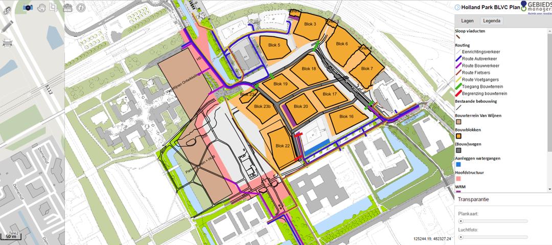Dynamische (GIS) faseringskaarten Holland Park